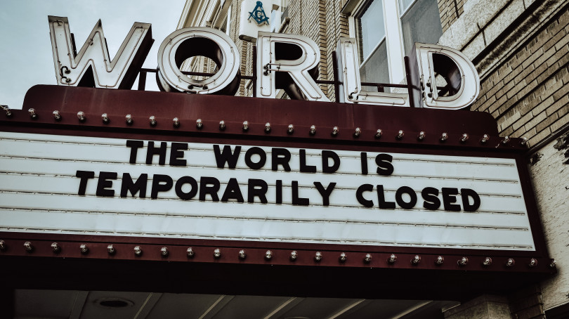 The world is temporarily closed. Picture of a movie theatre.